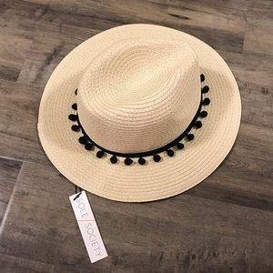 Sole Society Straw Panama Hat with Pom Poms